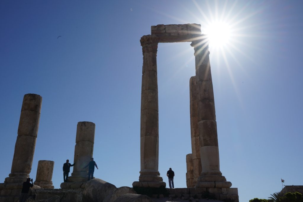 The Citadel at Amman, my first sunstar in a photo, image by Marie Goff