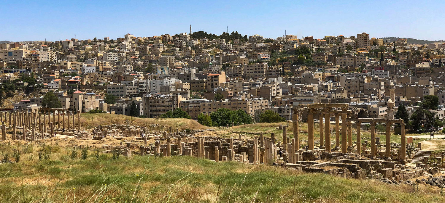 Jerash, Jordan, inhabited since the Bronze Age, Greco-Roman ruins