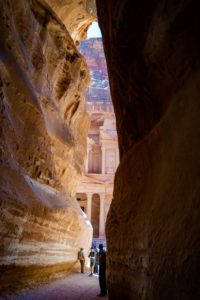 The Treasury at Petra photographed from the Siq, image by Marie Goff